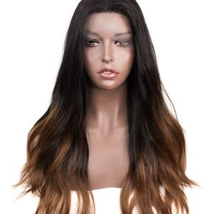 """24"""" Black Brown Ombre Wavy Lace Front Wig"""
